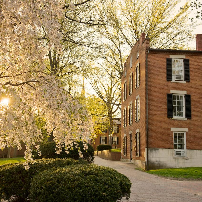 A spring morning photo of Wilson and Cutler Hall