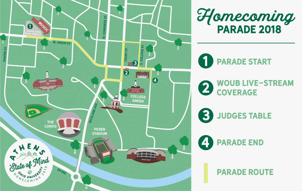 2018 Homecoming Parade Route Map