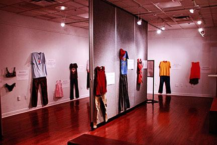 "clothes hanging in the ""What were you wearing"" exhibition"