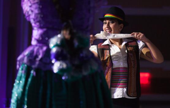 "Gabriela Fuentes performs the Bolivian dance ""cuerca"" with her mother at the International Women's Day Festival in Baker Ballroom on Sunday, March 19, 2017."