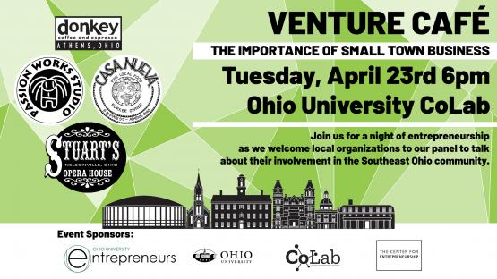 a flyer for Venture Cafe: The Importance of Small Town Business