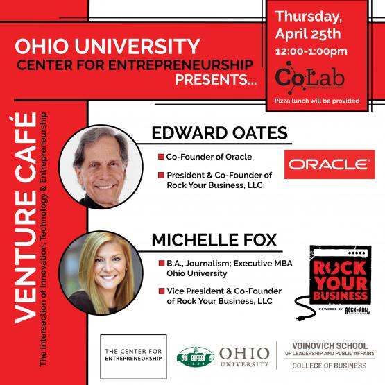 A flyer announcing details for Ed Oates and Michelle Fox's Rock Your Business Venture Cafe