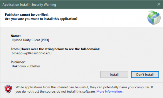 Screen shot: OnBase security warning