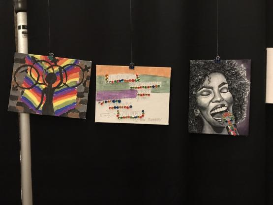 Three canvases created by participants.