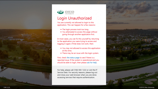 "Screenshot of ""Login Unauthorized"" error message from the Ohio University single-sign on screen."
