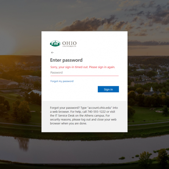 "Screenshot of ""Sorry, your sign-in timed out. Please sign in again."" error message from Ohio University single sign-on screen."