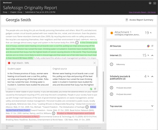 A screenshot of the Blackboard SafeAssign Originality Report, which highlights different parts of a student submission that match text on the internet and in journals and publications.