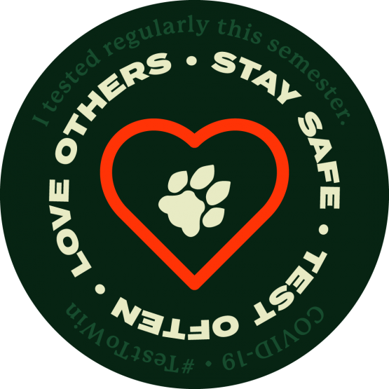 "Graphic for the COVID testing incentive program, displays a heart and paw print and ""love others, stay safe, test often"""