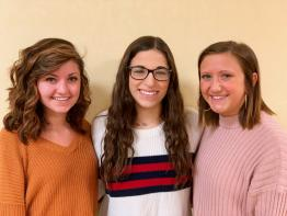 From left to right, Madison McGuire, Mya Contillo, and Maria Steinberg are current members of the dance organization OU Vibrations.