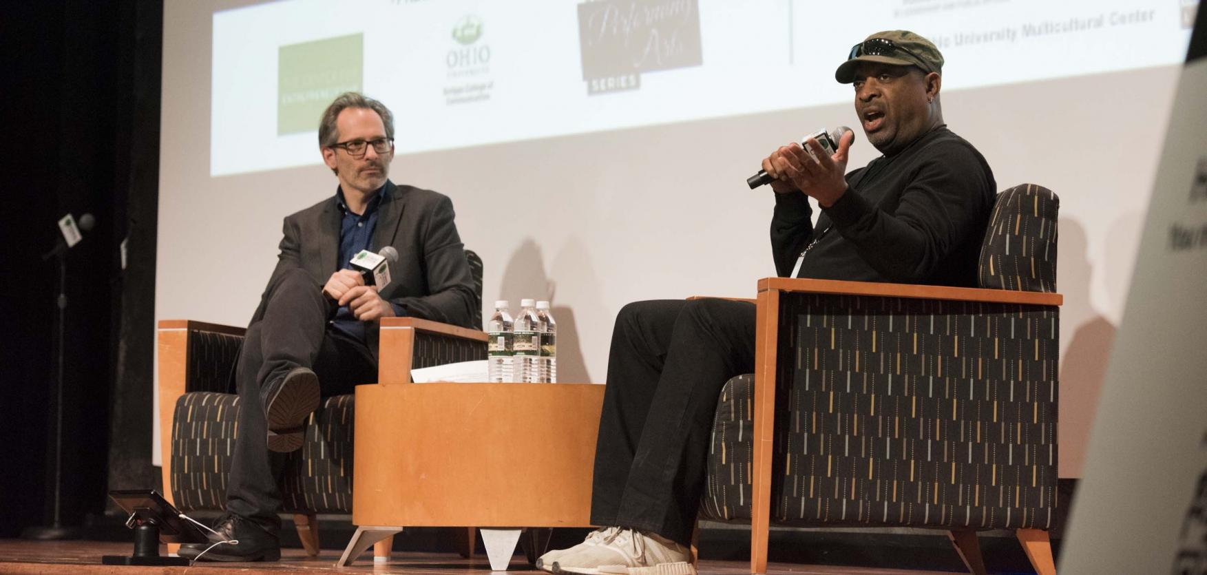 Chuck D of Public Enemy in conversation with professor Josh Antonuccio during the 2019 Music Industry Summit.