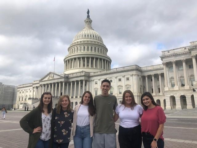 Ohio University students standing in front of the capital building in Washington, DC