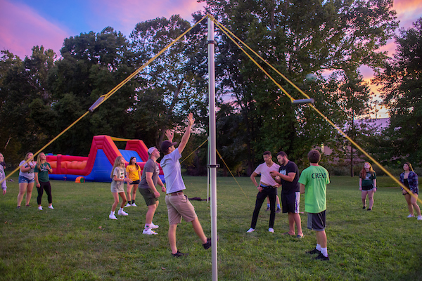 Students play a game at Party at Ping during Welcome Week. Photo courtesy of Student Affairs