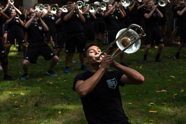 The Marching 110 performs during the 2019 Involvement Fair. Photo by Hannah Ruhoff