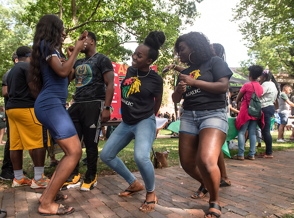 The African Student Association Undergraduate Chapter dances during the 2019 Involvement Fair. Photo by Hannah Ruhoff