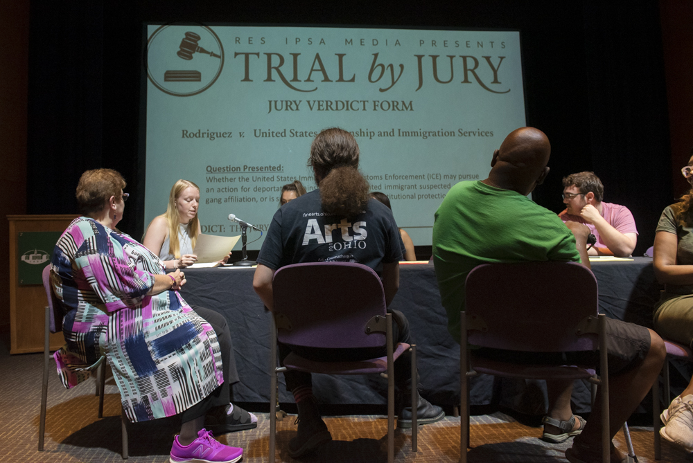 Jury members reveal their decision during the Trial by Jury: A Case of Deportation