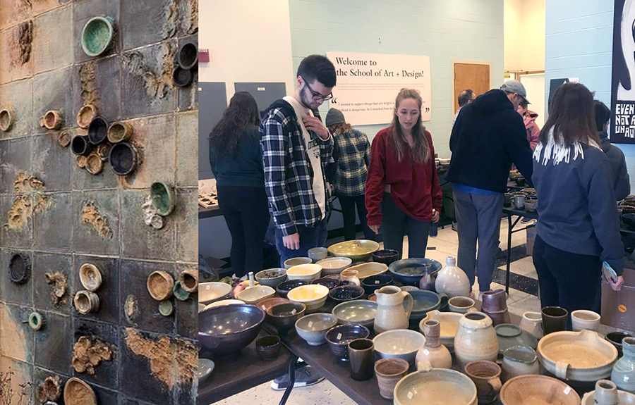 People looking at pottery displays