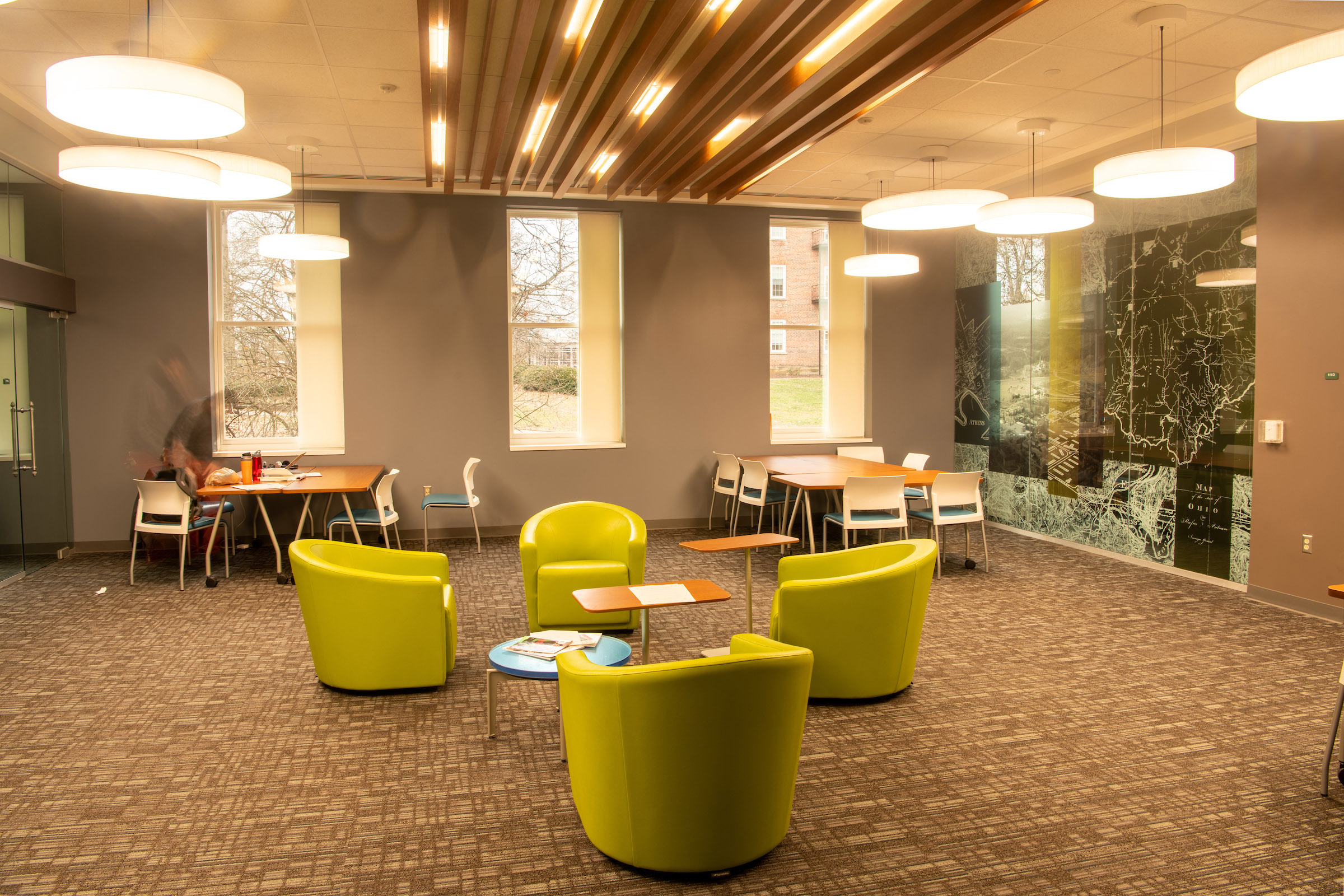 A collaborative space in Ellis Hall after the renovation.