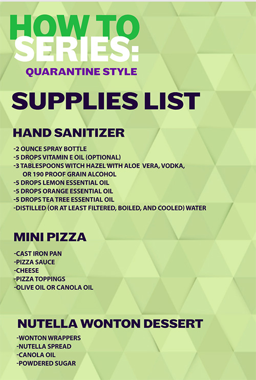 List of Supplies needed March 31