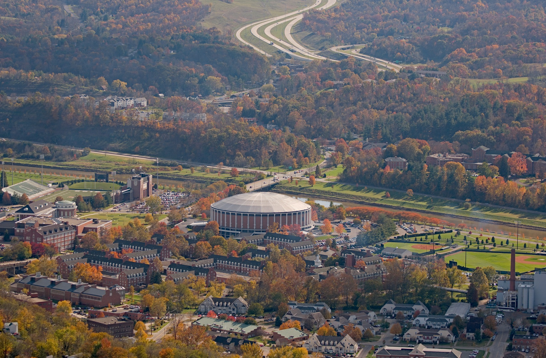 Aerial view of campus during fall