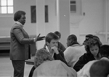Dr. Francine Childs speaks to a group of Ohio University students in 1988 when she was chair of the University's African American Studies Department.