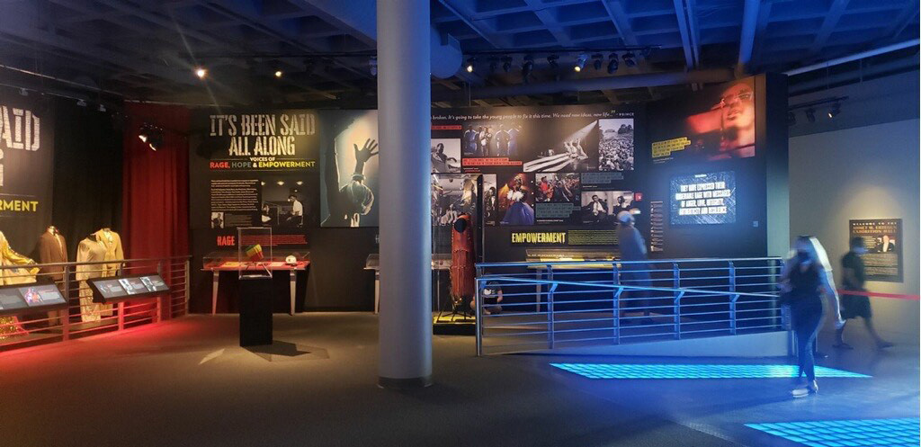 A second view of the social justice exhibit at the Rock & Roll Hall of Fame in Cleveland, Ohio