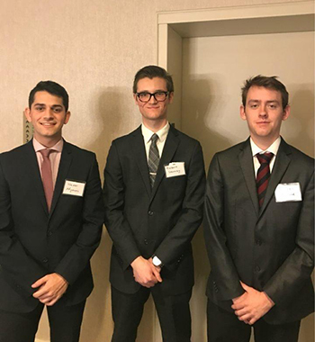Pictured (from left) are Nader Afyouni, BBA '19, Bobby Gorney, BBA '18, and Mitchell Holland, BBA '19.