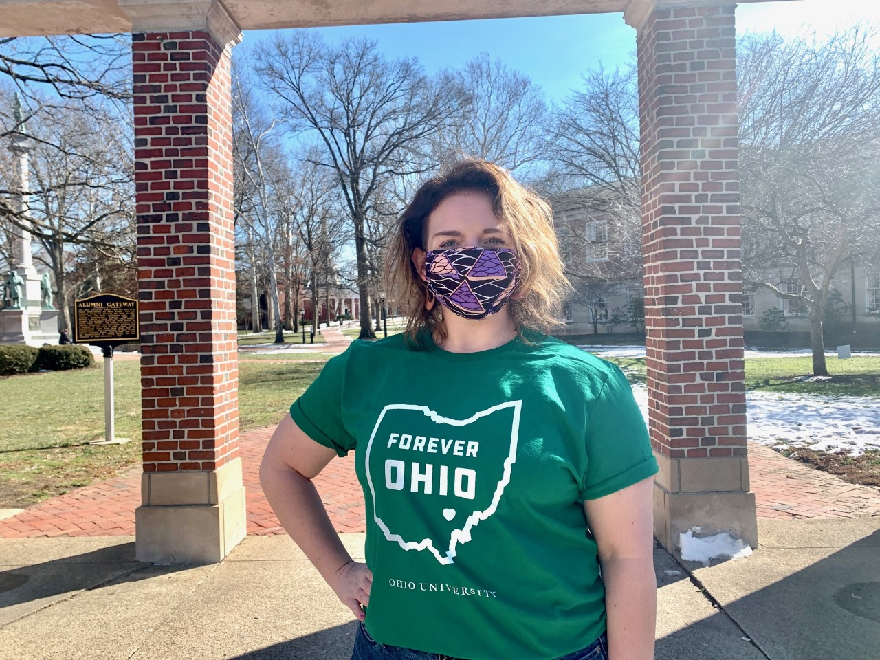 Woman wearing Forever OHIO t-shirt