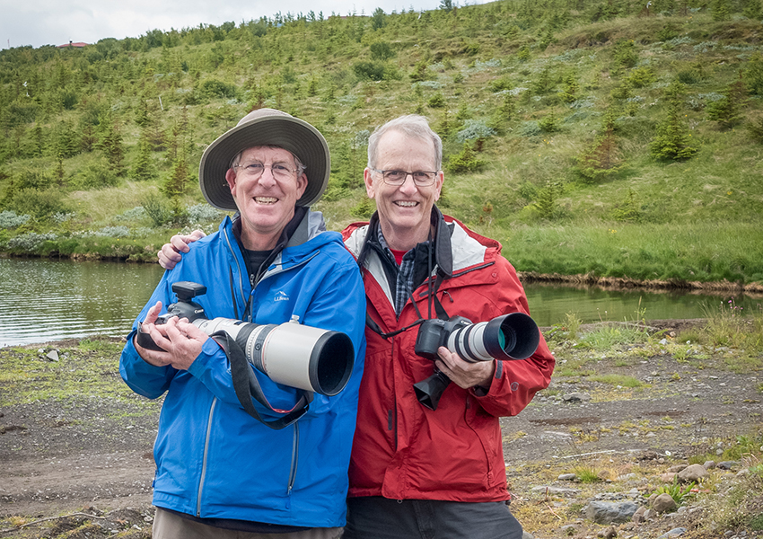 Patrick McCabe, AB '71, is pictured with his brother, Daniel, on a photo trip to Iceland.
