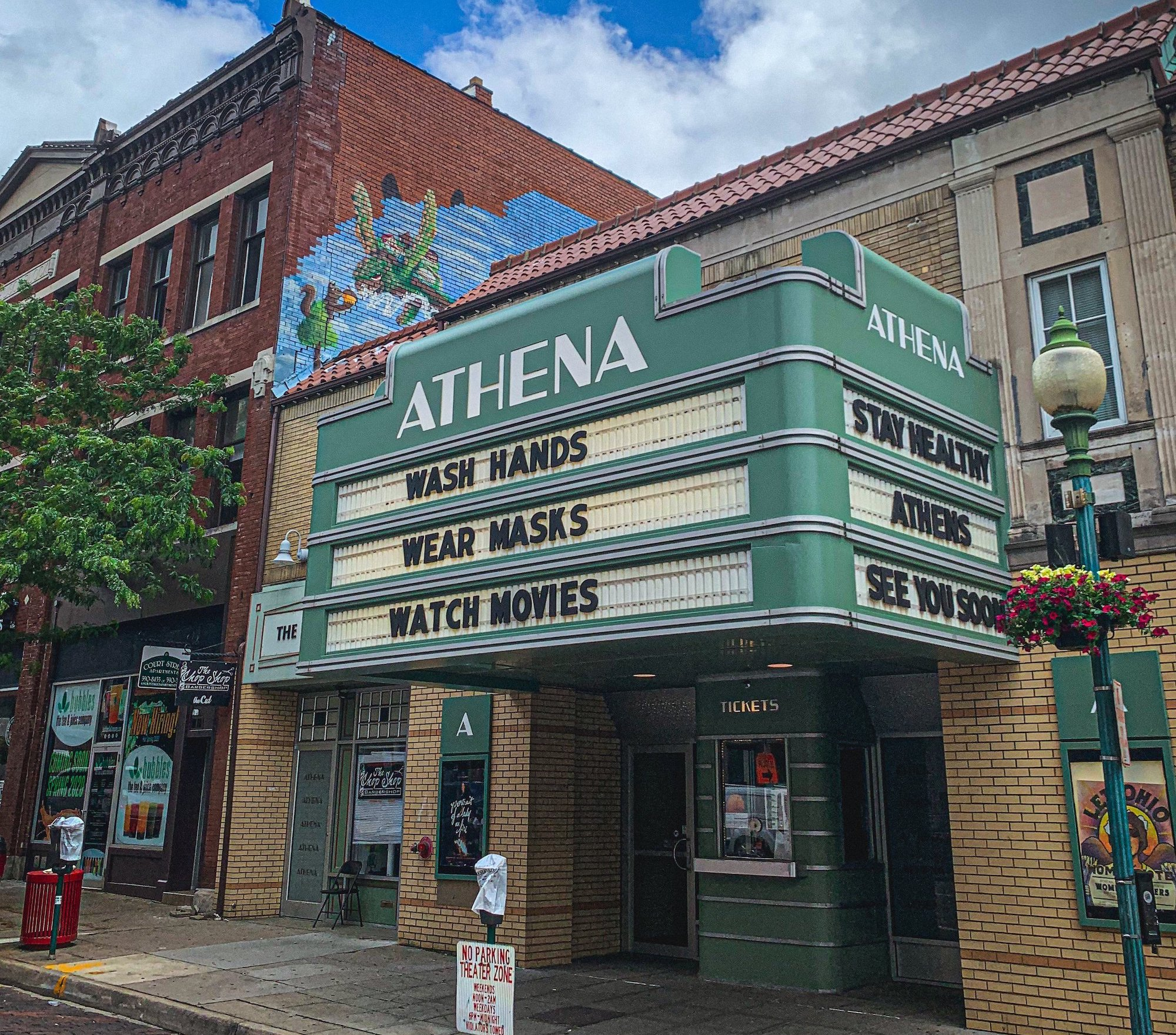 """Athena Cinema in Athens, with marquee reading """"Wash Hands - Wear Masks - Watch Movies""""  - athena 1 20copy - Athena Cinema takes Science on Screen films to outdoor Ridges space"""