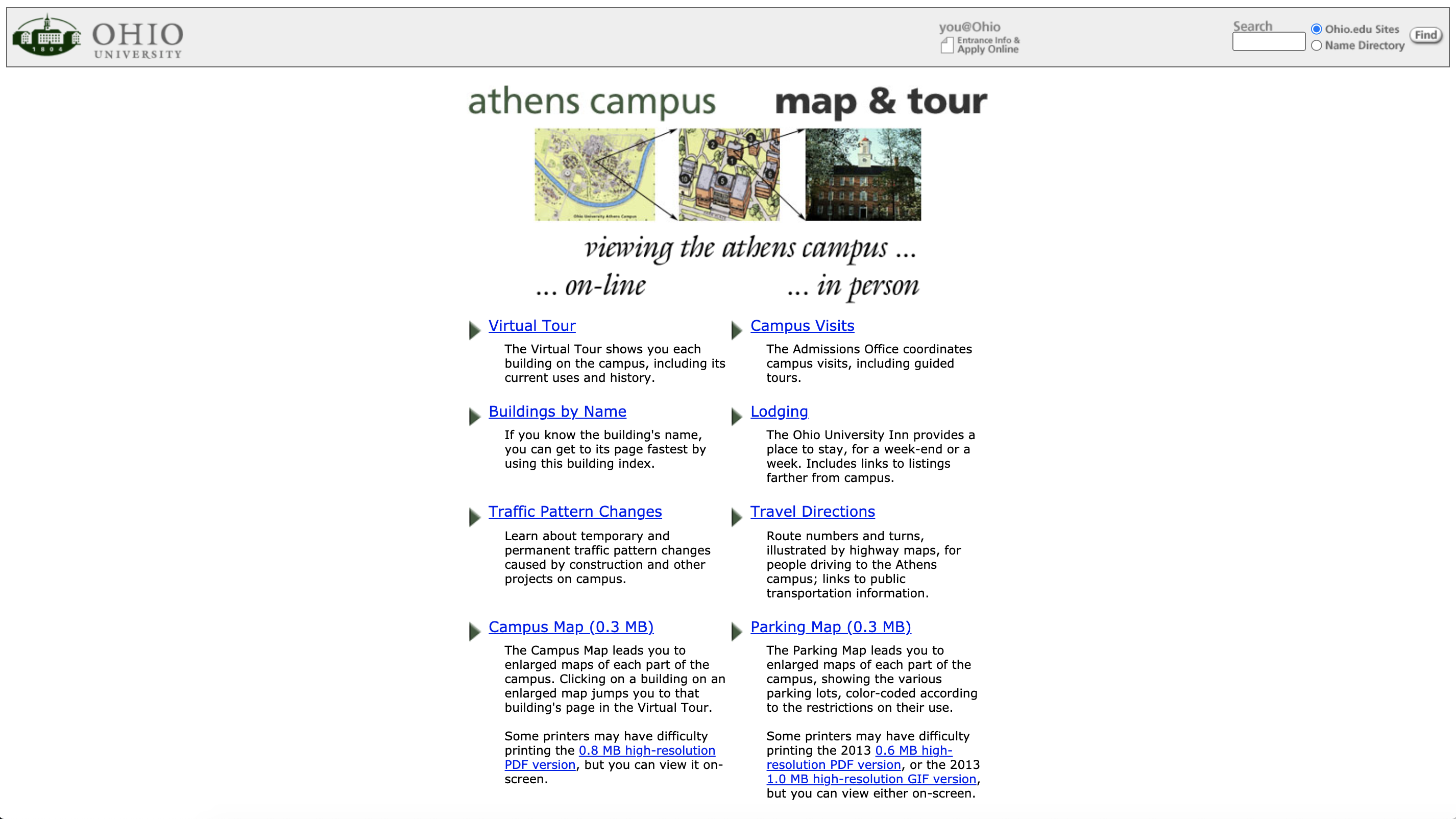 Old Athens campus map website and building information