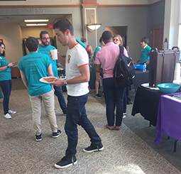 "Members of Better Bystanders work with staff from the Office of Equity and Civil Rights Compliance, the Survivor Advocacy Program and the Campus Involvement Center during the kickoff for ""A Mile Together."""