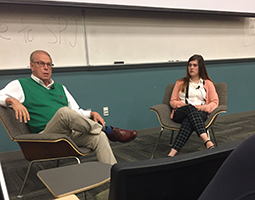Former Ohio Gov. Ted Strickland takes questions from the audience at a recent meeting of Ohio University's chapter of the Society of Professional Journalists.