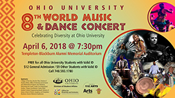 The 2018 World Music and Dance Festival will take place March 26–April 6, culminating in the Diversity Concert at 7:30 p.m. April 6 in the Templeton-Blackburn Alumni Memorial Auditorium.