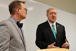 Ohio University President M. Duane Nellis, right, and Zanesville Campus Dean Dr. Jeremy Webster meet with local media after a community business roundtable May 9, 2018.