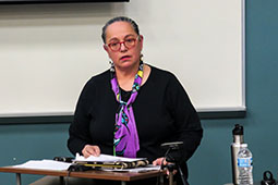 Mary Annette Pember, an award winning indigenous journalist, visited OHIO on Nov. 14 to speak to student journalists about covering sexual assault.
