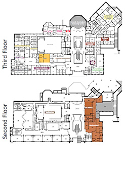 The current and future locations of the LGBT Center are shown on these maps of the second and third floors of Baker University Center.