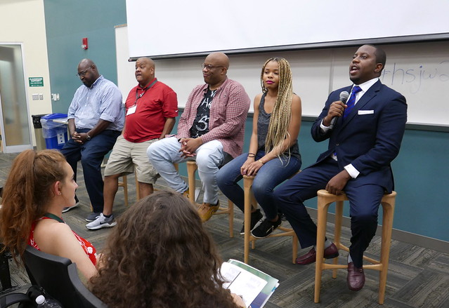 Larry Seward, Ugonna Okpalaoka and others speak on diversity and diverse views in the newsroom during one session of the journalism workshop.