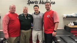 Charles Leddon, director of sports science initiatives for the Cincinnati Reds, Randy Leite, dean of Ohio University's College of Health Sciences and Professions, Sam Grossman, assistant general manager for the Reds, and Patrick Serbus, director of athlet