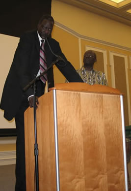 Manute Bol addressing African Students Union at Ohio University