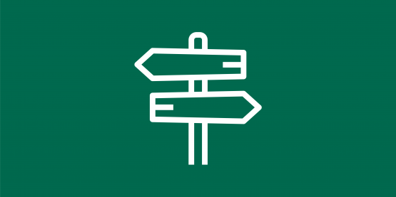 Sign with directional arrows