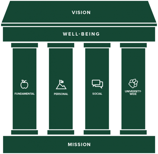 Visualization of the mission, vision and well-being framework and to explain how they relate to one another
